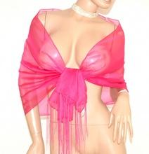 STOLA  ROSA FUCSIA foulard scialle donna velato frange seta coprispalle abito da sera elegante E120