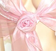 STOLA ROSA maxi coprispalle foulard organza donna scialle seta elegante damigella F5