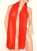 STOLA ROSSA donna sciarpa coprispalle foulard x abito scialle velato lurex 150
