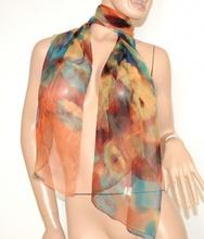 STOLA SETA VELATA donna FOULARD coprispalle elegante ROSSO AZZURRO x abito da cerimonia scarf 160