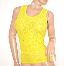 TOP CANOTTA donna GIALLO giromanica pizzo strass cristalli elegante maglia sottogiacca da cerimonia E60