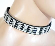 COLLANA STRASS girocollo collarino bianco nero cristallo ragazza brillantini party F80