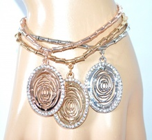 BRACCIALE donna ARGENTO ORO ROSA ciondoli elegante strass a molla filigrana bracelet F155