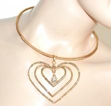 COLLANA CUORI donna girocollo oro dorato rigido ciondoli regalo san valentino A2