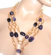 COLLANA LUNGA donna PIETRE VIOLA oro dorata anelli collier elegante necklace G54