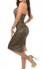 ABITO donna BEIGE ORO NERO vestito tubino giromanica decoltè party cerimonia dress A28