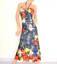 ABITO LUNGO donna vestito floreale a fiori maxi dress copricostume elegante cerimonia anello treccia 85A
