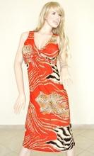 Abito vestito donna estivo elasticizzato in cotone rosso scollatura a V incrociata con stampa animalier leopardata