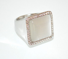 ANELLO ARGENTO donna PIETRA quadrata fascia strass cristalli elegante anel ring N57