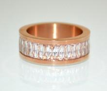 ANELLO ORO ROSA donna fedina cristalli veretta strass fascia brillanti zirconi bague ring N99