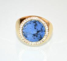 ANELLO PIETRA BLU bronzo donna oro dorato strass zirconi estensibile ring N96