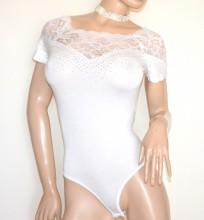 BODY BIANCO maglietta manica corta donna pizzo ricamo sottogiacca strass T- shirt G48