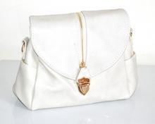 BORSA BIANCA donna bauletto zip oro borsetta ecopelle tracolla bag sac bolsa F120