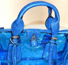 BORSA BLU AZZURRO ORO donna bauletto pvc eco pelle rettile trasparente mare bag sac E205