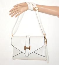 BORSELLO BIANCO ORO donna borsa eco pelle pochette tracolla a mano bag sac A20