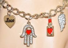 BRACCIALE argento ciondoli donna cuore mano fatima perla amuleti medagline BB22