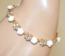 BRACCIALE BIANCO ORO donna strass cristalli fiori rose elegante браслет BB2