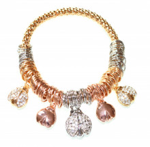 BRACCIALE ciondoli coccinelle donna oro dorato charms rosa argento elastico V18