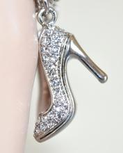 BRACCIALE donna argento ciondoli scarpette smaltati scarpine strass fucsia maglia anelli elegante N66