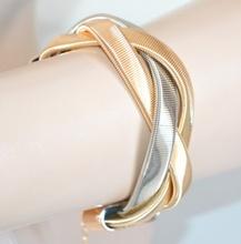 BRACCIALE donna ORO ARGENTO sexy elegante semi rigido intrecciato bracelet idea regalo E1