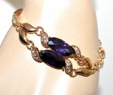 BRACCIALE donna oro dorato cristalli viola gocce strass elegante cerimonia Armband GP8