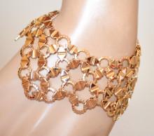 BRACCIALE donna ORO dorato fascia semi rigido elegante cerimonia bigiotteria bracelet N3