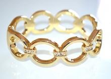 BRACCIALE donna RIGIDO elegante ORO ad anelli dorato STRASS cristalli da cerimonia 960