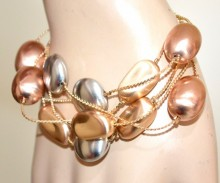 BRACCIALE oro argento rosa donna ciondoli pietre satinate multi fili dorato bracelet GP5