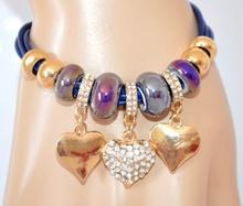 BRACCIALE ORO BLU donna CIONDOLI CUORI ragazza STRASS ORO pulsera bracelet 420