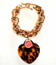 BRACCIALE ORO donna CIONDOLO CUORE maculato dorato charms medaglina rossa anelli V16
