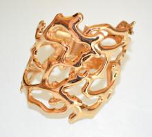 BRACCIALE ORO donna rigido a schiava corallo dorato elegante pulsera bracelet F80