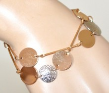 BRACCIALE oro dorato donna ciondoli argento medagline satinate bracelet GP28