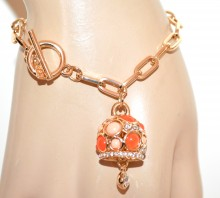 BRACCIALE oro dorato donna pietre rosa arancio corallo ciondolo cristalli strass G48