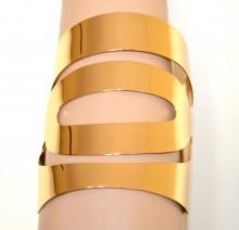 BRACCIALE ORO dorato donna rigido a schiava metallo lucido polsiera bracelet G68
