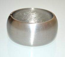 BRACCIALE RIGIDO grigio argento satinato donna a schiava ovale metallo party A39