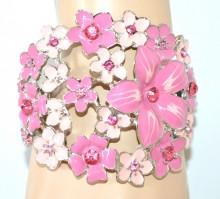 BRACCIALE ROSA donna rigido argento fiori strass cristalli bracelet браслет NVF