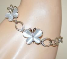BRACCIALE TENNIS argento pietre grigio perla donna strass ciondoli farfalle anelli A23