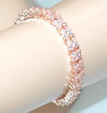 BRACCIALE TENNIS ORO ROSA donna cristalli strass elegante cerimonia bracelet G38