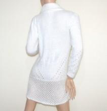 Cardigan bianco +spilla donna maglione aperto maglia manica lunga made italy G59