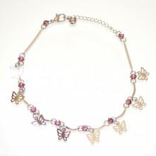 CAVIGLIERA donna argento strass rosa glicine ciondoli farfalline cristalli 60B