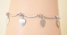 Cavigliera donna estive argento con strass\cristalli rosa e ciondoli a cuore