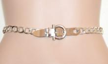 CINTURA ARGENTO donna catena anelli gioiello metallo stringivita silver belt Gürtel G66