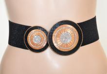 CINTURA donna NERA ORO stringivita fibbia strass eco pelle lurex elastica elegante G62