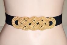 CINTURA NERA ORO donna stringivita bustino treccia metallo dorato elastica belt G50