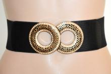 CINTURA NERA ORO donna stringivita elastica fibbia strass cerchi a molla woman belt G63