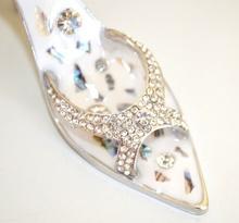 Ciondolo borsa portachiavi scarpa sandalo ARGENTO con cristalli e strass sexy key ring llavero 3