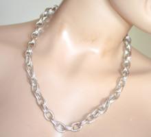 COLLANA ARGENTO donna catena argentata girocollo anelli cerchi ragazza silver chain necklace S69