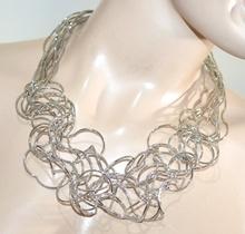 COLLANA ARGENTO donna girocollo multi fili collier elegante cerimonia colar G10