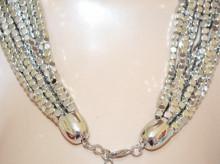 COLLANA ARGENTO donna multi fili girocollo micro pietre metallo catena multipla collier N67