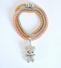 COLLANA argento oro rosa dorato donna girocollo ciondolo orsetto strass bigiotteria magnete F3